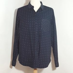 GAP navy blue blouse with white polka dots.